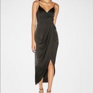 Satin black faux wrap evening dress